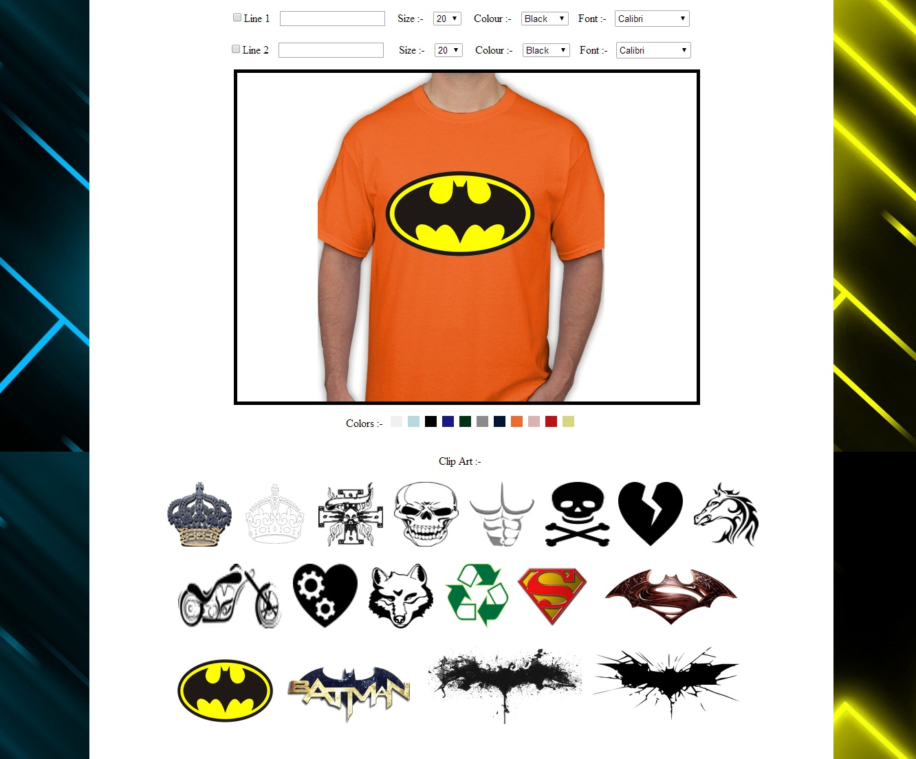 Online Printed T-Shirt Designing Project
