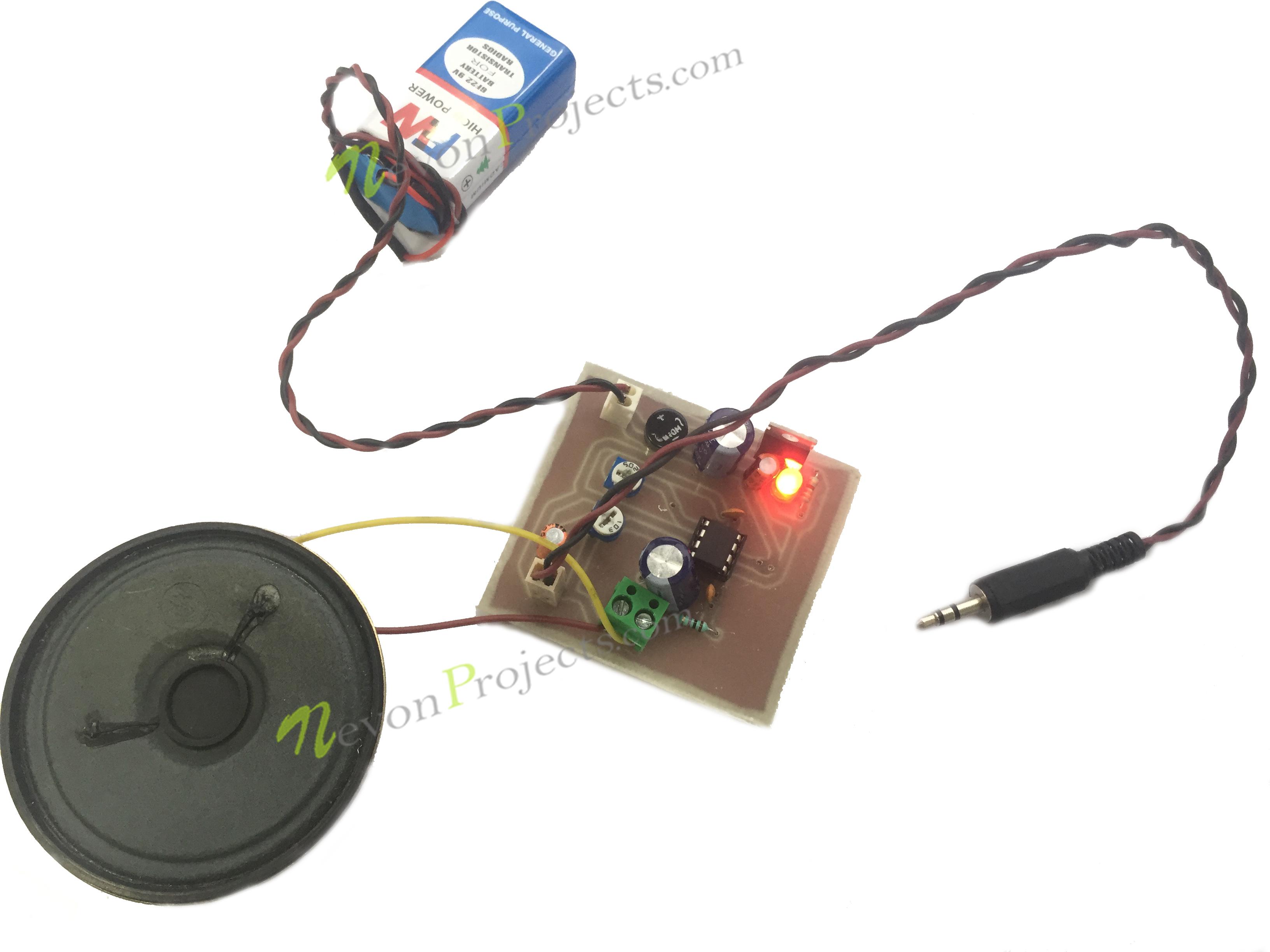 Mini Audio Amplifier Project Circuit Schematic Simple Portable