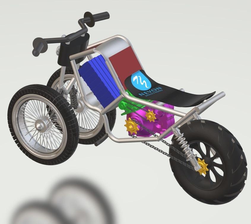 nevon 3 wheel bike 3d view