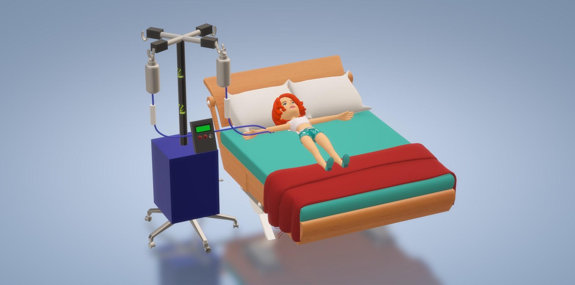 nevon automatic IV pole with IV bag